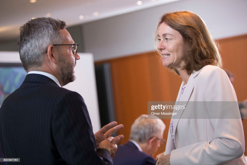 Germany's Minister of Family Affairs, Senior Citizens, Women and Youth Katarina Barley (R) attends the weekly German federal Cabinet meeting on on August 16, 2017 in Berlin, Germany. Today's is the first cabinet meeting since government members return from summer vacation. Germany faces federal elections in September.
