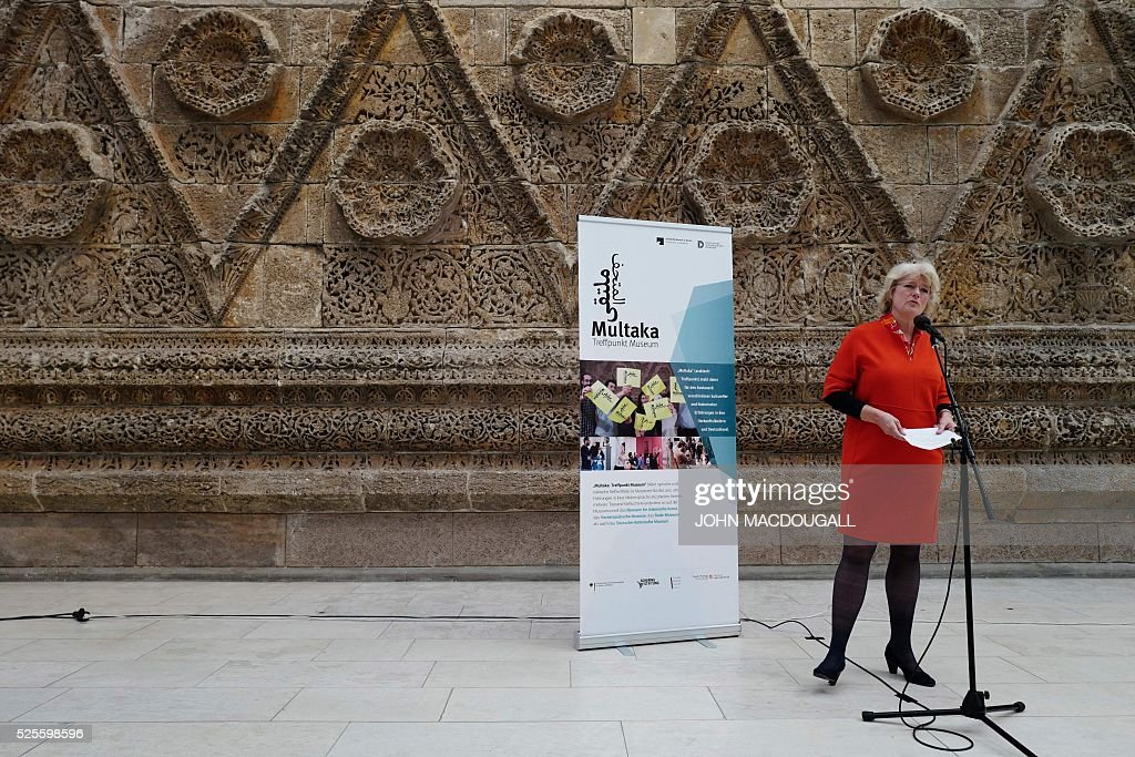 Germany's Minister of State for Cultural Affairs Monika Gruetters addresses guests at a function during which additional funds were made available to the the Multaka project, at the Museum for Islamic Art in Berlin on April 28, 2016. The Multaka project encourages refugees to act as tour guides for groups of other refugees in selected Berlin museums. / AFP / John MACDOUGALL