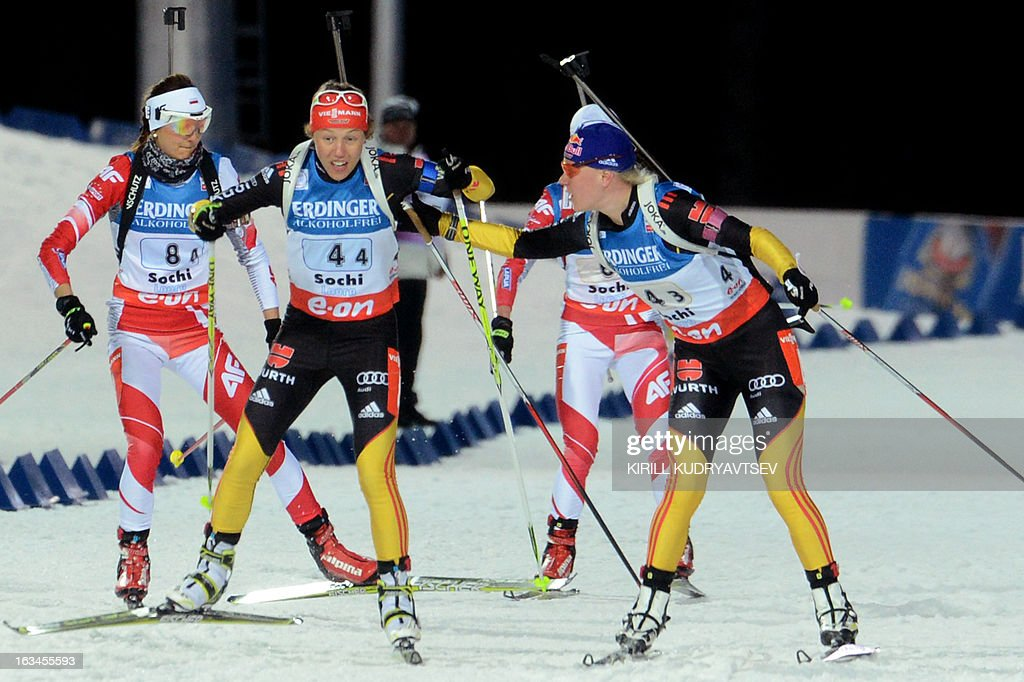 Germany's Miriam Gossner (R) and Laura Dahlmeier compete in Women 4x6 km Relay during an IBU World Cup Biathlon at Laura Cross Country and Biathlon Centre in Sochi on March 10, 2013. Germany took the first place ahead of Ukraine and Norway.