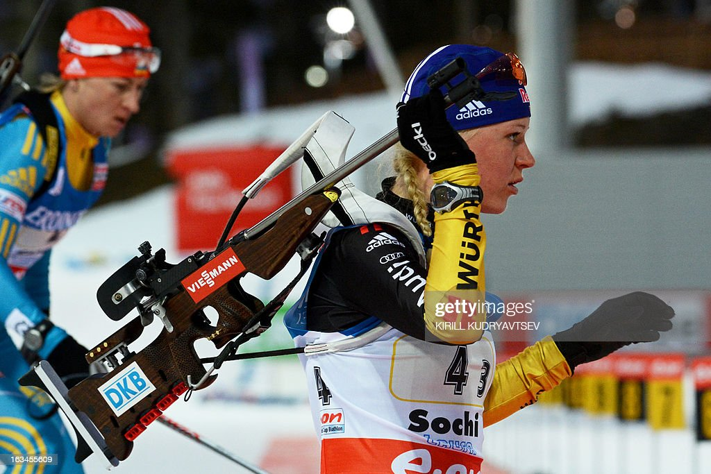 Germany's Miriam Gossner prepares to shoot during the Women's 4x6 km Relay of the IBU Biathlon World Cup at Laura Cross Country and Biathlon Center in the Russian Black Sea resort of Sochi on March 10, 2013. Germany took first place ahead of Ukraine and Norway.