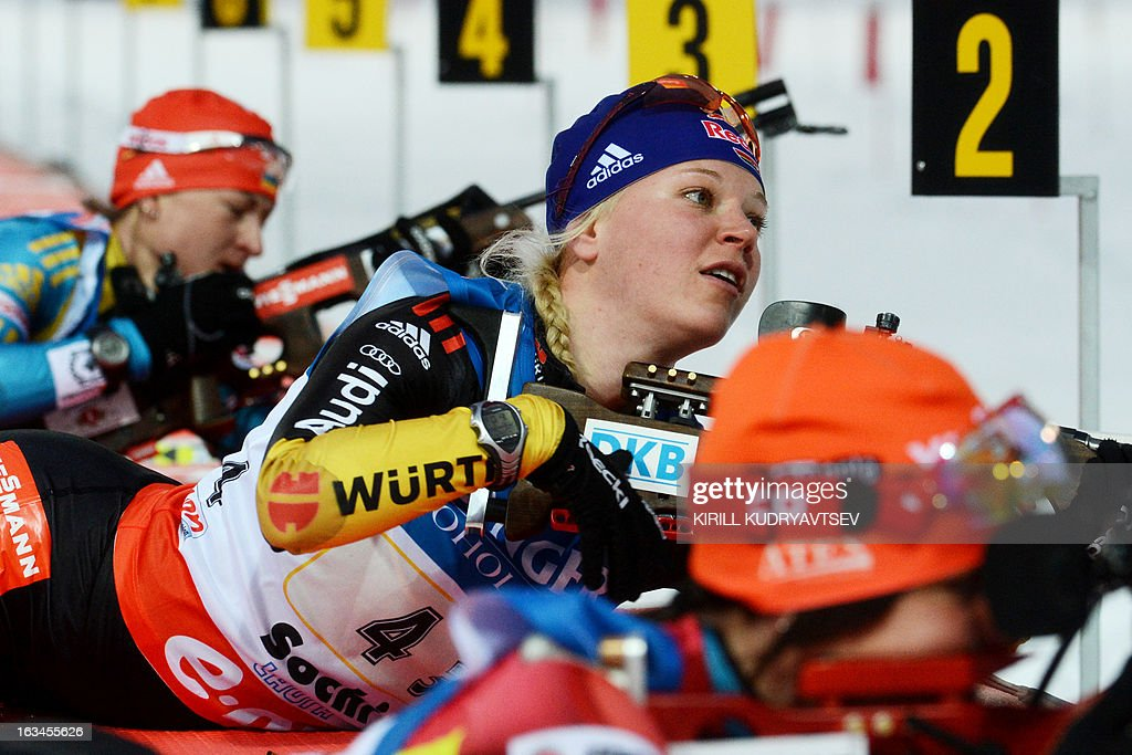 Germany's Miriam Gossner prepares to shoot during the Women's 4x6 km Relay of the IBU Biathlon World Cup at Laura Cross Country and Biathlon Center in the Russian Black Sea resort of Sochi on March 10, 2013. Germany took first place ahead of Ukraine and Norway. AFP PHOTO/KIRILL KUDRYAVTSEV