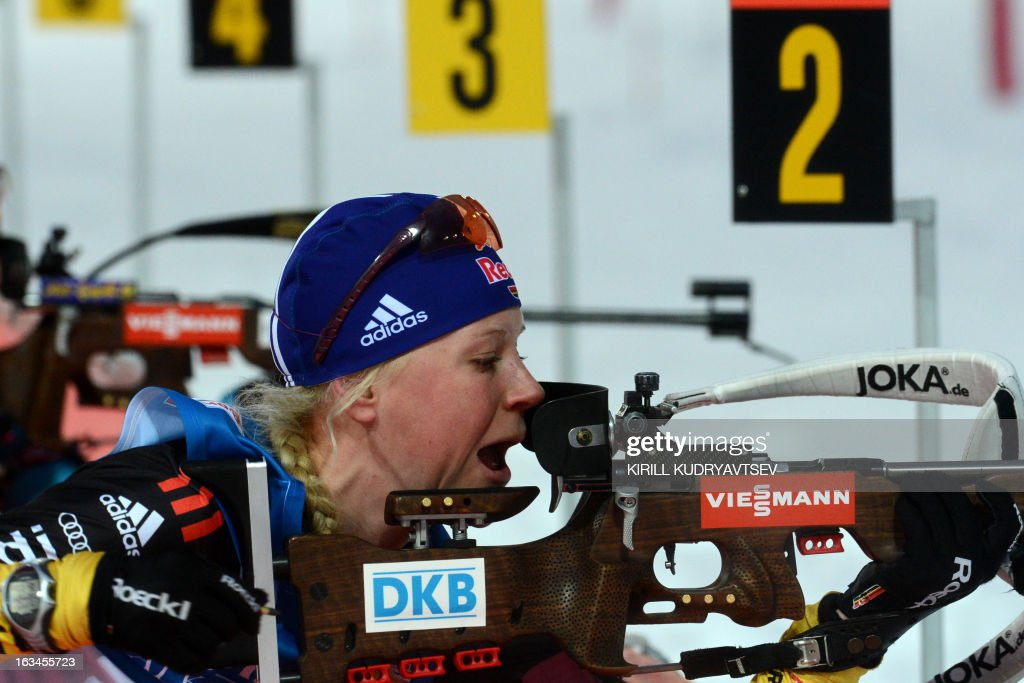 Germany's Miriam Gossner prepares to shoot in Women 4x6 km Relay during an IBU World Cup Biathlon at Laura Cross Country and Biathlon Centre in Sochi on March 10, 2013. Germany took the first place ahead of Ukraine and Norway.