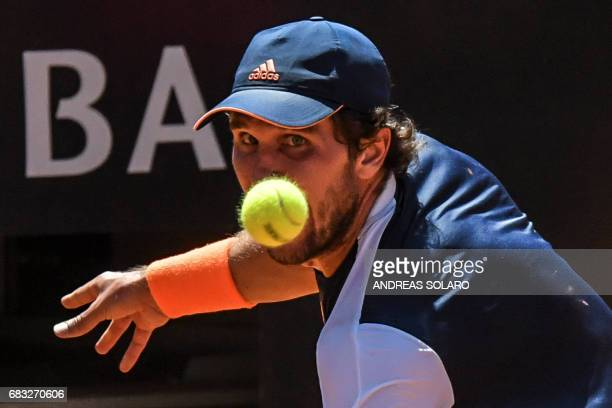 Germany's Mischa Zverev returns the ball to Czech Republic's Tomas Berdych during their tennis match at the ATP Tennis Open tournament on May 15 2017...
