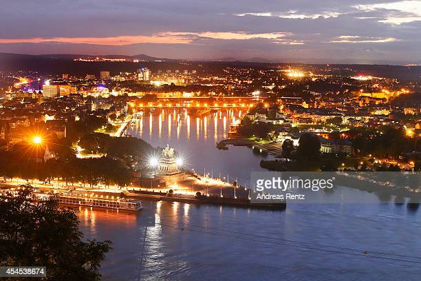 Germany's most beautiful corner The German Corner stands illuminated on September 2 2014 in Koblenz am Rhein Germany The famous German Corner where...