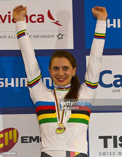 Germany's Myriam Welte celebrate obtaingin the gold medal during medal ceremony at the Women's 500m time trial race at the UCI track cycling World...