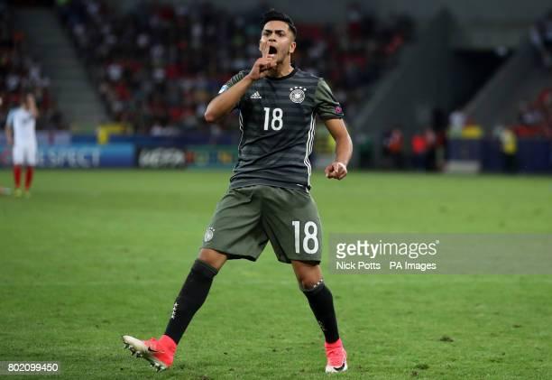 Germany's Nadiem Amiri celebrates scoring his penalty during the UEFA European Under21 Championship Semi Final match at Stadion Miejski Tychy