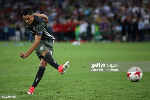 Germany's Nadiem Amiri scores his penalty during the UEFA European Under21 Championship Semi Final match at Stadion Miejski Tychy