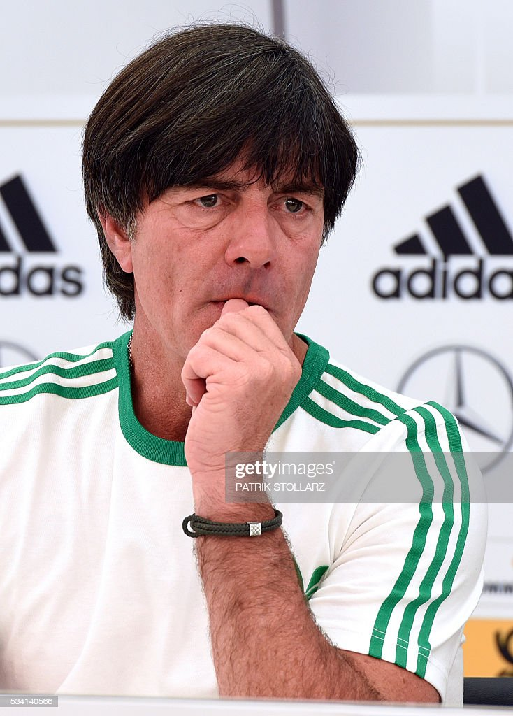 Germany's national football team coach Joachim Loew gives a press conference on the sideline of the team's preparation for the upcoming Euro 2016 European football championships, on May 25, 2016 in Ascona. STOLLARZ