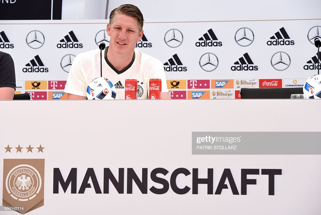 Germany's national football team midfielder Bastian Schweinsteiger gives a press conference on the sideline of the team's preparation for the upcoming Euro 2016 European football championships, on May 25, 2016 in Ascona. STOLLARZ