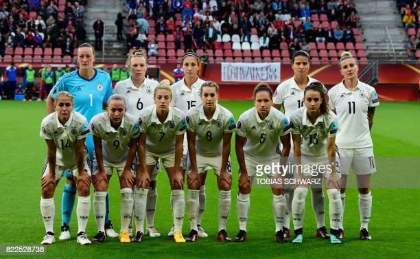 Germany's national football team players Anna Blasse Mandy Islacker Carolin Simon Lena Goessling Babett Peter Sara Dabritz Almuth Schult Kristin...