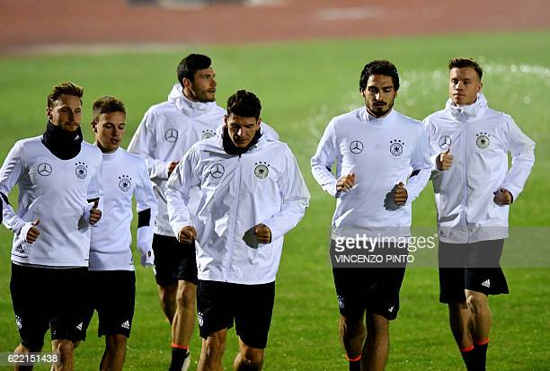Germany's national football team players attend a training session at the Misano stadium on November 10 2016 on the eve of the FIFA World Cup 2018...