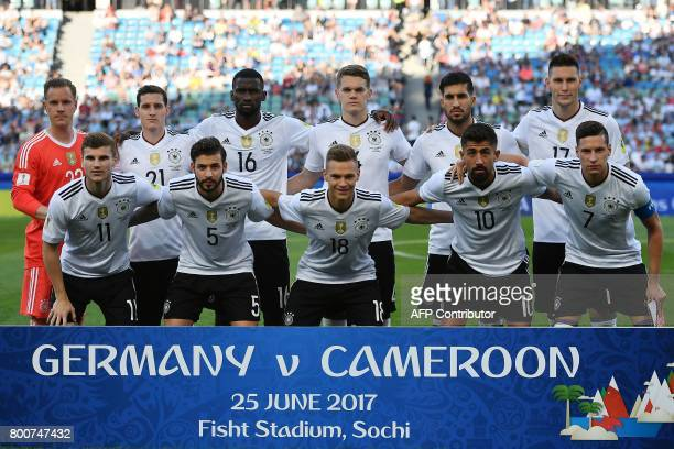 Germany's national football team players goalkeeper MarcAndre Ter Stegen midfielder Sebastian Rudy defender Antonio Ruediger defender Matthias Ginter...