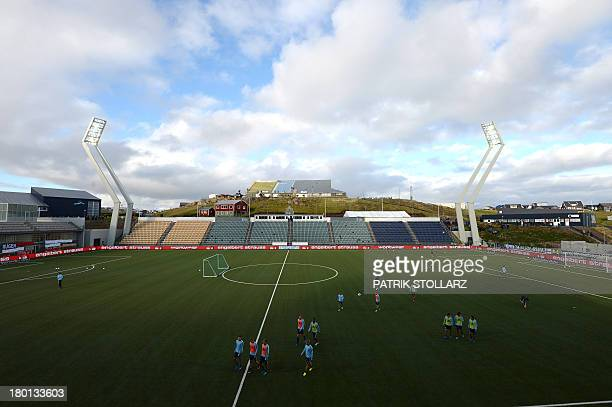 Germany's national football team practices ahead of the FIFA World Cup qualifier against Faroe Islands on September 9 2013 in Torshavn Faroe Islands...