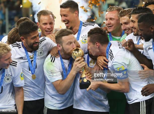 Germany's national soccer team's players celebrate after victory in the Confederations Cup 2017 Final match Chile Germany at SaintPetersburg Stadium...