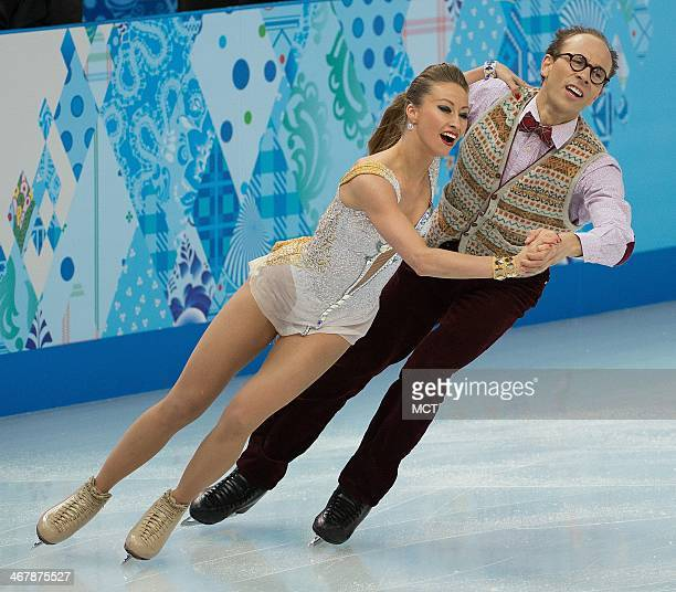 Germany's Nelli Zhiganshina and Alexander Gazsi perform during the team pairs ice dance short dance program at the Iceberg Skating Palace at the...