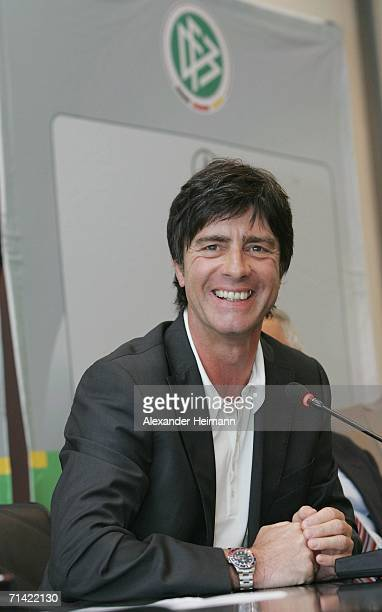 Germany's new Head Coach Joachim Loew smiles during the German Football Federation press conference where Juergen Klinsmann announced his resignation...