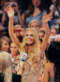 Germany's Next Top Model 2011 Jana Beller waves to her fans during the finalists show of 'Germany's Next Topmodel' at the LanxessArena on June 09...