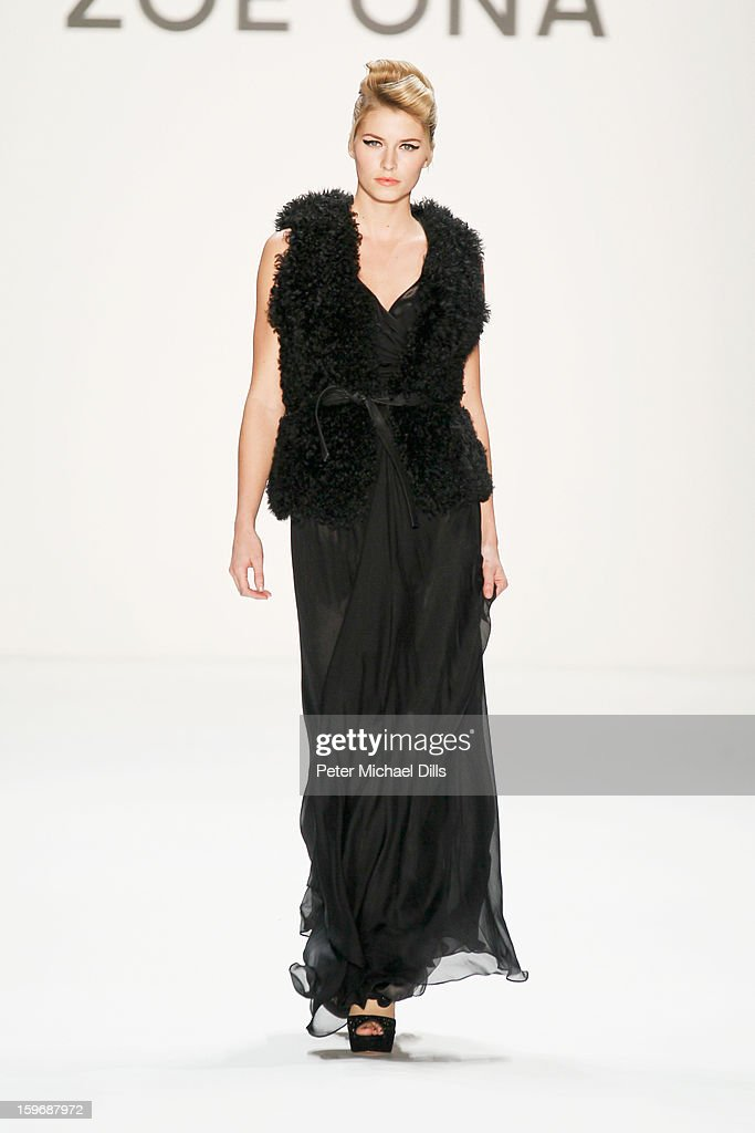 'Germany's next Topmodel' candidate Lena Gercke walks the runway at Zoe Ona Autumn/Winter 2013/14 fashion show during Mercedes-Benz Fashion Week Berlin at Brandenburg Gate on January 18, 2013 in Berlin, Germany.