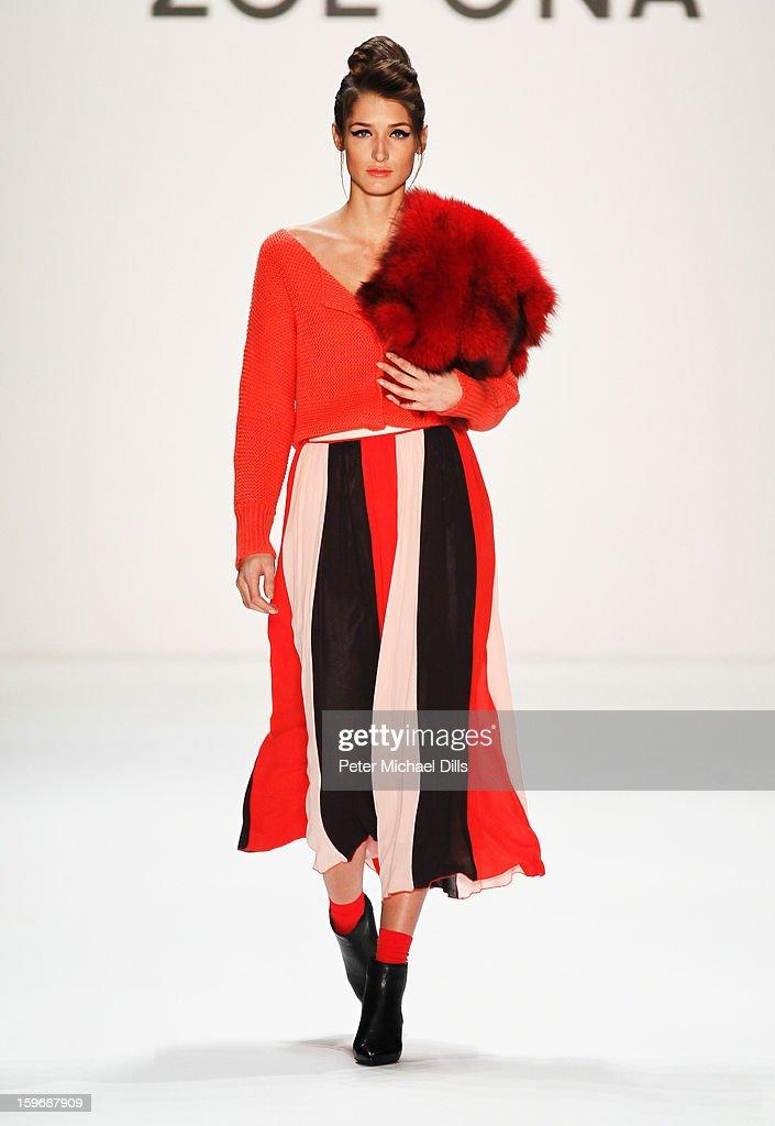'Germany's next Topmodel' candidate Leyla Mert walks the runway at Zoe Ona Autumn/Winter 2013/14 fashion show during Mercedes-Benz Fashion Week Berlin at Brandenburg Gate on January 18, 2013 in Berlin, Germany.