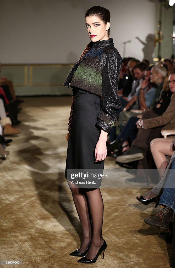 'Germanys Next Topmodel' candidate Marie Nasemann walks the runway at Sava Nald Autumn/Winter 2013/14 fashion show during Mercedes-Benz Fashion Week Berlin at Hotel Adlon Kempinski on January 17, 2013 in Berlin, Germany.