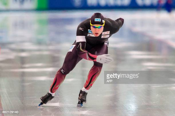 Germany's Nico Ihle competes during the 1000m men competition of the speed skating World cup in Stavanger Norway on March 11 2017 / AFP PHOTO / NTB...