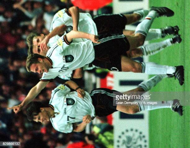 Germany's Oliver Bierhoff celebrates his equalising goal in tonight's Euro 96 Final against the Czech Republic at Wembley Photo by Sean Dempsey/PA