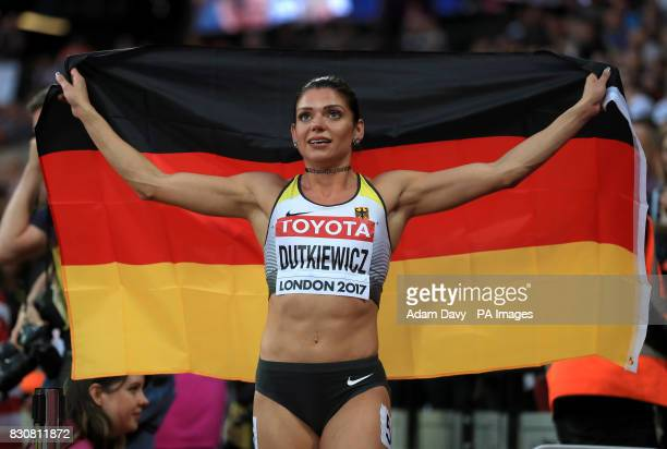 Germany's Pamela Dutkiewicz celebrates bronze in the Women's 100m Hurdles Final during day nine of the 2017 IAAF World Championships at the London...