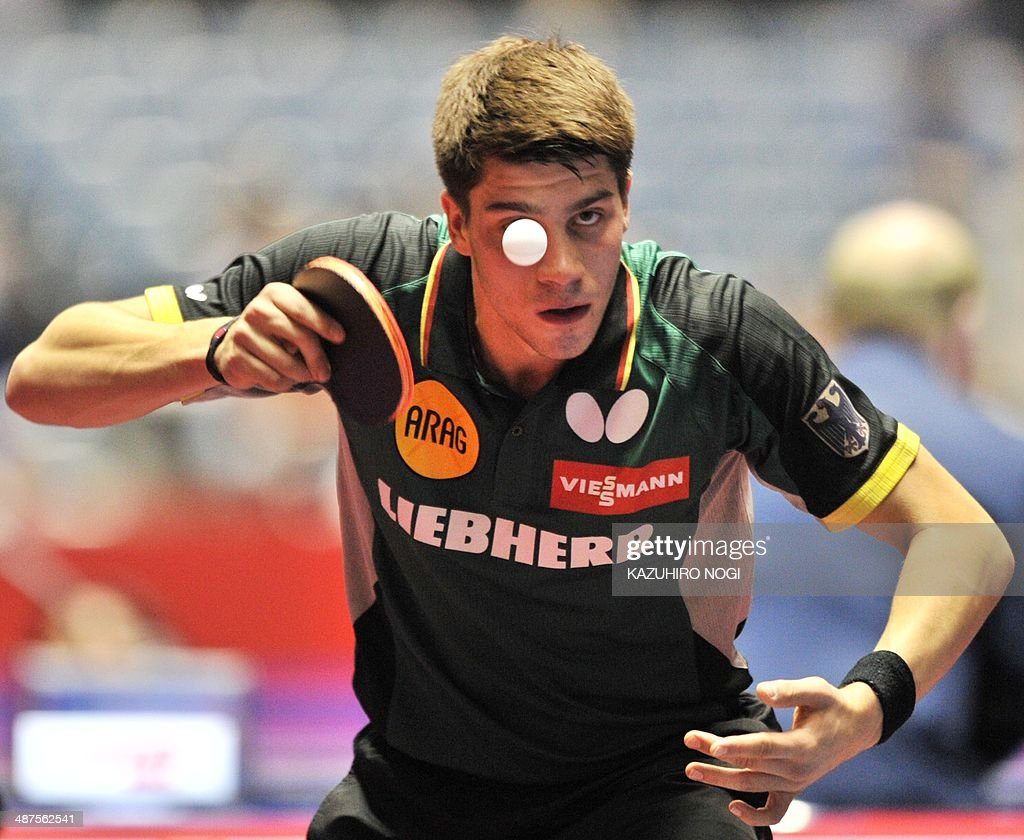 Germany's Patrick Franziska serves against Ukraine's Lei Kou during their match in the men's team championship division group B at the 2014 World Team Table Tennis Championships in Tokyo on May 1, 2014.