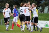 Germany's player celebrate after Selina Hunerfauth scores the 10 winning goal during the U16 women international friendly match between France and...
