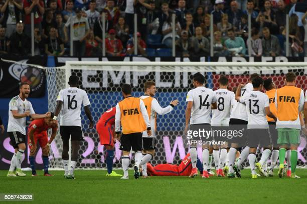 Germany's players celebrate winning the 2017 Confederations Cup final football match between Chile and Germany at the Saint Petersburg Stadium in...