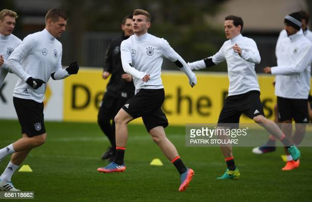 Germany's players including Timo Werner take part in a training session in Dortmund western Germany on March 21 on the eve of the friendly football...