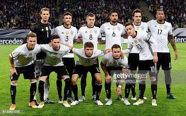 Germany's players pose for a team picture prior to the 2018 World Cup qualifier football match of Germany vs Czech Republic in Hamburg northern...