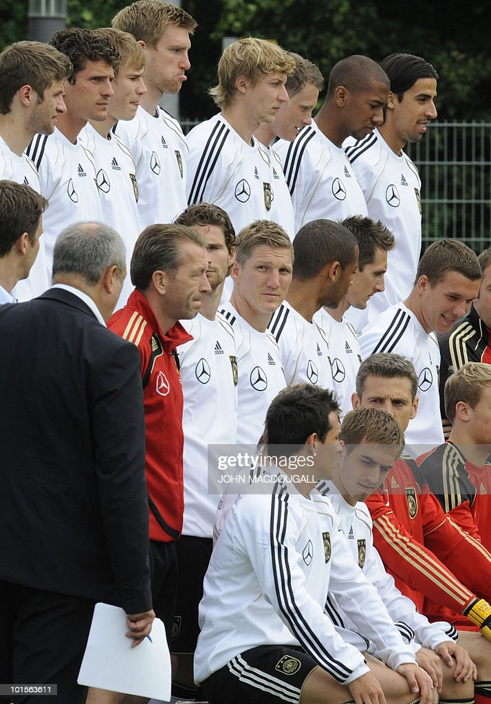 Germany's players prepare to pose for the team photo in the central German city of Frankfurt am Main on June 2, 2010. Germany is facing Bosnia-Herzegovina on June 3, 2010 in their last warm-up ahead of the FIFA 2010 World Cup in South Africa.