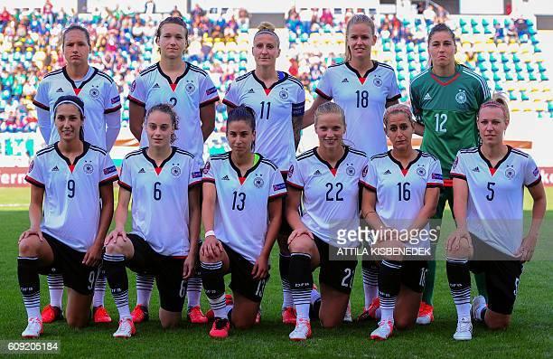 Germany's players Sara DoorsounKhajeh Jacqueline Klasen Hasret Kayikci Tabea Kemme Anne Blasse and Kristin Demann Babett Peter Josephine Henning Anja...