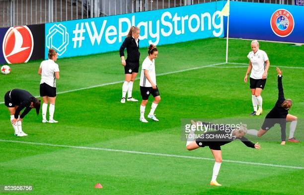 Germany's players take part in a training at the Sparta Rotterdam Stadium during the UEFA Women's Euro 2017 football tournament in Rotterdam on July...