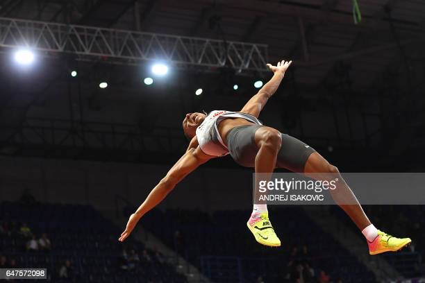 TOPSHOT Germany's Raphael Holzdeppe reacts as he competes in the men's pole vault final at the 2017 European Athletics Indoor Championships in...