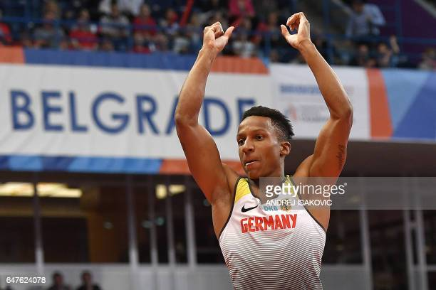 Germany's Raphael Holzdeppe reacts as he competes in the men's pole vault final at the 2017 European Athletics Indoor Championships in Belgrade on...