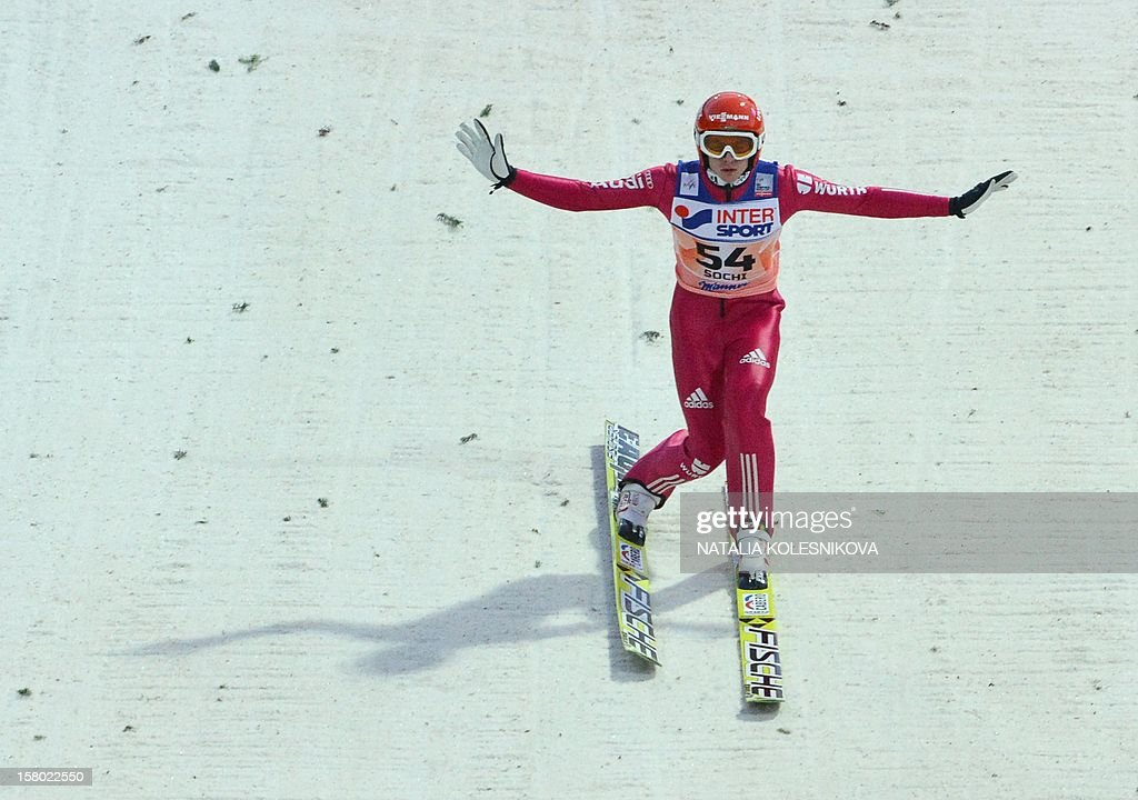 Germany's Richard Freitag competes during the men's normal hill individual at the FIS Ski Jumping World Cup tournament in Sochi on December 9, 2012. Freitag took the second place.