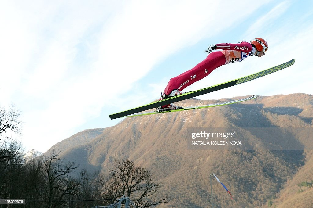 Germany's Richard Freitag jumps during the men's normal hill individual at the FIS Ski Jumping World Cup tournament in Sochi on December 9, 2012. Freitag took second place.