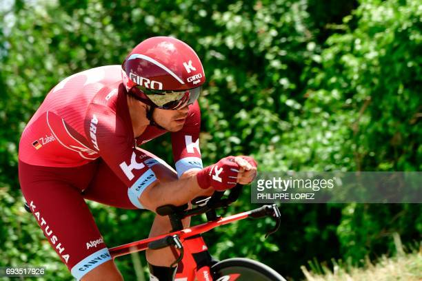 Germany's Rick Zabel rides during a 235 km individual timetrial the fourth stage of the 69th edition of the Criterium du Dauphine cycling race on...