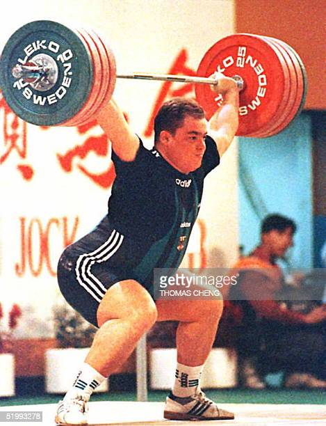 Germany's Ronny Weller in his second attempt in the 108 kg and over snatch class takes the gold with a lift of 1975 kg at the World Weightlifting...