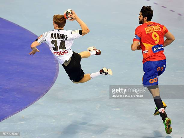 TOPSHOT Germany's Rune Dahmke vies with Spain's Raul Entrerrios during the final match of the Men's 2016 EHF European Handball Championship between...