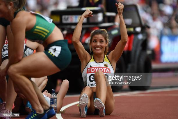 Germany's Ruth Sophia Spelmeyer reacts after competing in the women's 4x400m relay athletics event at the 2017 IAAF World Championships at the London...