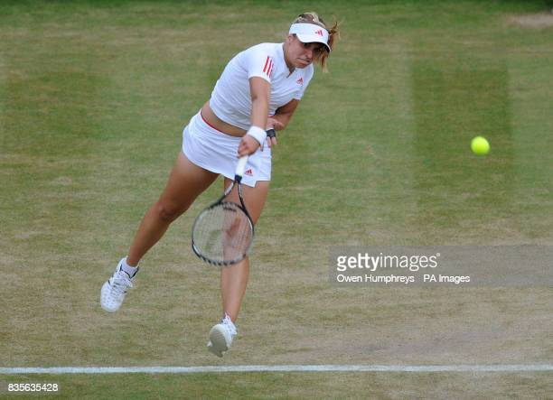 Germany's Sabine Lisicki in action against Russia's Svetlana Kuznetsova during the 2009 Wimbledon Championships at the All England Lawn Tennis and...