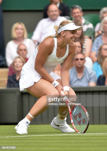 Germany's Sabine Lisicki in her match against Israel's Julia Glushko during day two of the Wimbledon Championships at the All England Lawn Tennis and...