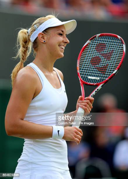 Germany's Sabine Lisicki reacts during her match against Czech Republic's Karolina Pliskova during day four of the Wimbledon Championships at the All...
