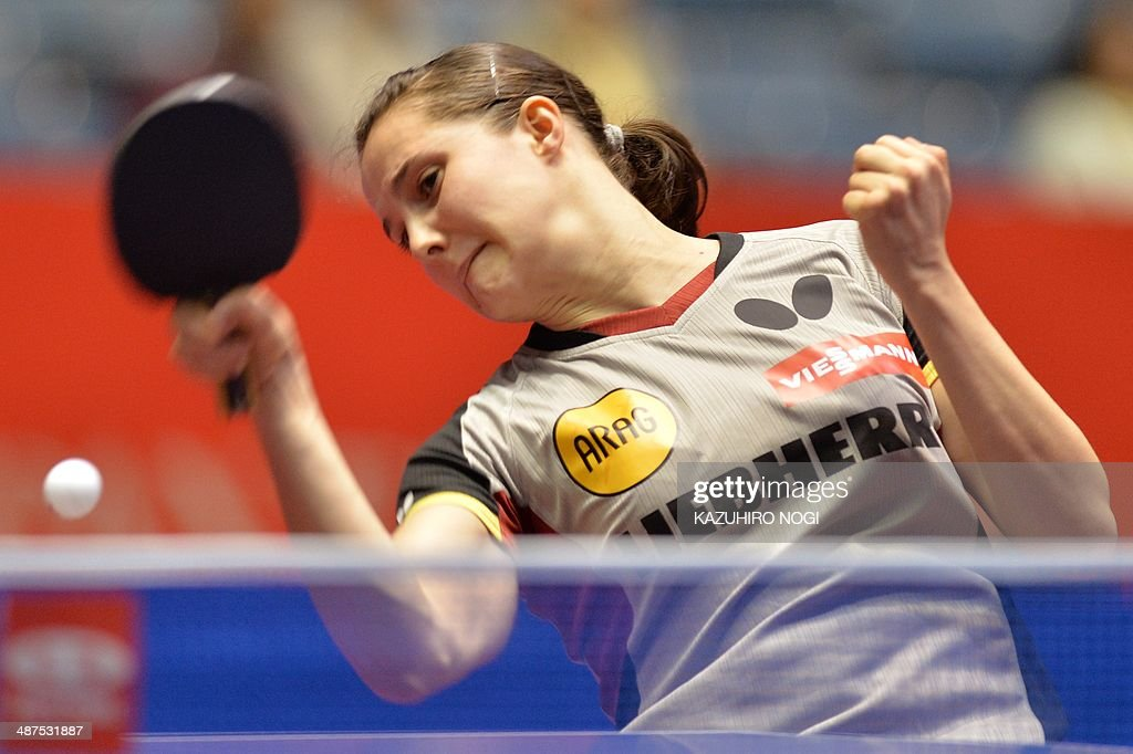 Germany's Sabine Winter returns a shot against Serbia's Andrea Todorovic during their match in the women's team championship division group D at the 2014 World Team Table Tennis Championships in Tokyo on May 1, 2014.