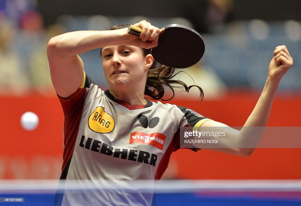 Germany's Sabine Winter returns a shot against Serbia's Andrea Todorovic during their match in the women's team championship division group D at the 2014 World Team Table Tennis Championships in Tokyo on May 1, 2014. AFP PHOTO / KAZUHIRO NOGI
