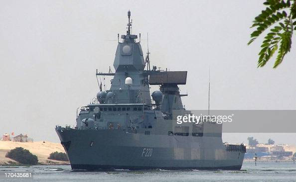 Germany's Sachsen class airdefense frigate 'Hamburg' crosses the Suez Canal waterway near Egypts's port city of Ismailia east of Cairo on June 13...