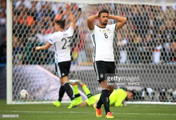 Germany's Sami Khedira dejected after a missed chance